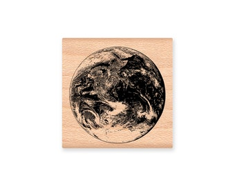 PLANET EARTH-man in the moon stamp-moon face-vintage man in the moon-plantet earth stamp- wood mounted rubber stamp (45-22moon)(45-18earth)