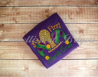 Mardi Gras Onesie Appliqued with Your Design Choice, Jester Hat or King Cake, My First Mardi Gras or Baby Inside