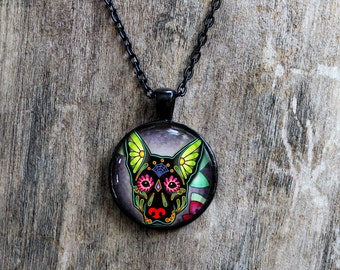 CLEARANCE - Day of the Dead Black German Shepherd Sugar Skull Cameo Necklace