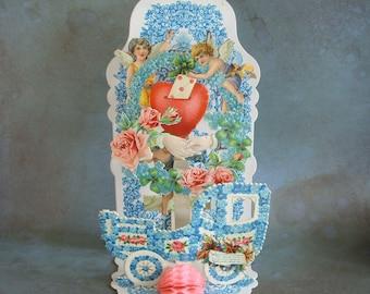 "Vintage 7"" German Fold Out Valentine Card Flowers Car Hands Cupid Honeycomb"