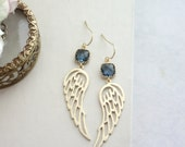 Dark Blue Glass, Gold Textured Wings Filigree Earrings. Wedding Bridal Jewelry, Montana Navy Blue Gold Angel flying wings, Holiday Gift Idea
