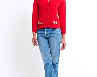 The Vintage Red 1967 Cavettes Schoolgirl Sweater Cardigan