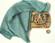 Soft Linen Dish Towel. Persian Green Pure Linen Kitchen Towels. Jungle Green / Aquamarine Washed Linen Tea Towels, burlap, flax