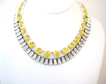 Swarovski Yellow Opal Crystal Rhinestone Silver Necklace, Anna Wintour Inspired, 47SS Big Stones Necklace Layering Necklace