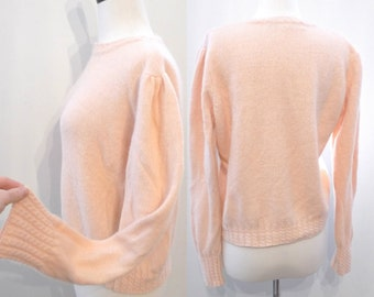 Vintage 80s Angora Lambswool Peach Sorbet Sweater. Soft Pullover Top Jumper Pastel on sale