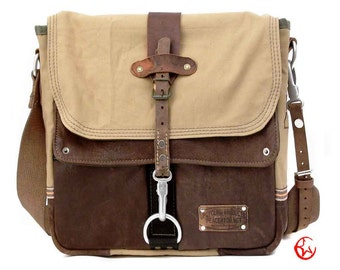 Leather Canvas Messenger Bag // Upcycled and Handmade by peace4you - Model paul-2045