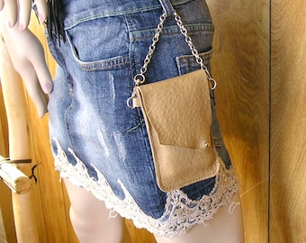 """Cellphone - Camel cowhide leather with clip on 7"""" chain strap and spring clip and a ball button, 5"""" x 3"""" inside"""