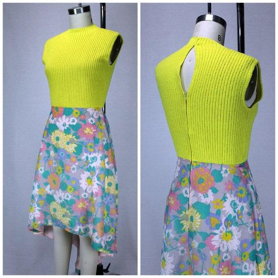 Vintage Flower Power Dress / Vintage Hi Lo Dress / 60s Mod Floral Dress / 1960s Sundress / Keyhole Back Vintage Dress / Floral Hi Lo Dress