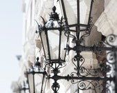 Venice Photography -  Black Lamp Posts, Palazzo Grazzi, Venice, Italy Travel Photograph, Neutral Home Decor, Large Wall Art