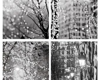 City Fairy Lights Photo Set - Four Fine Art Photographs, Paris, Urban, Magical Home Decor, Black and White, Large Wall Art