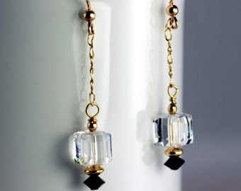 Swarovski Clear Crystal Cube with Jet Accents on Gold Filled Chain Dangle Earrings