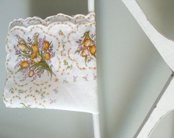 Yellow Tulip Vintage Handkerchief