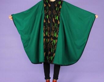 Green Wool Cape w/ Ikat Details
