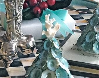 Christmas Tree with Natural Aqua Shells and Coral - Mini Size  - Beach Christmas seashell seashells sea shell sea shells beach ornament