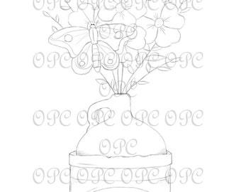Digital Stamp Flower Jug