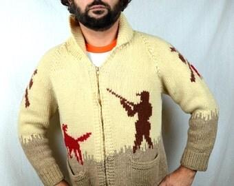 Amazing Vintage Cowichan Duck Novelty Hunting Cardigan Zip Up Wool Sweater