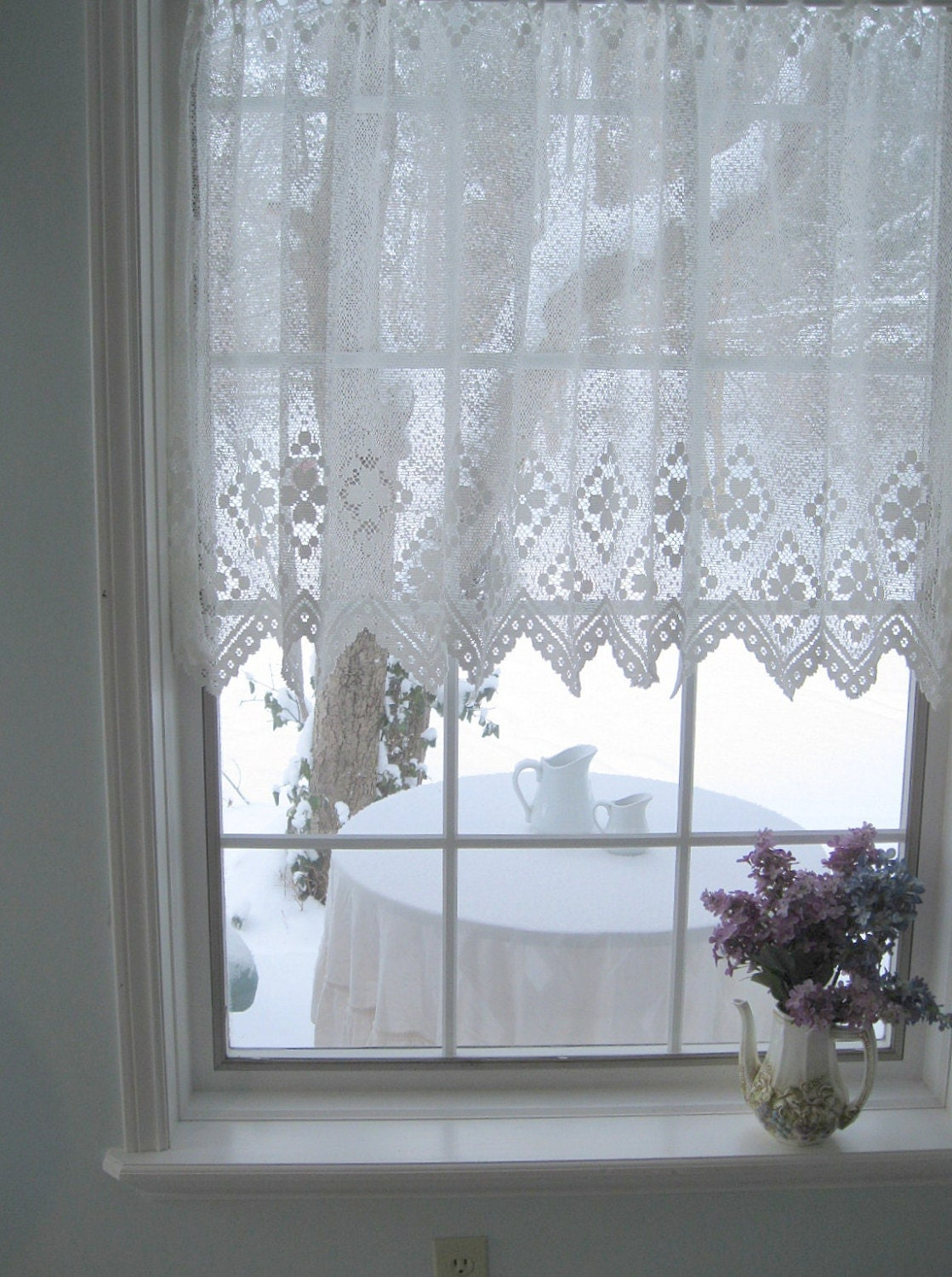 vintage lace curtain netted lace curtain drape white
