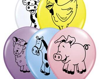 Balloons, 5 Farm Animals Balloons, Cow Balloon, Pig Balloon, Horse Balloon, Chicken Balloon, Lamb Balloon, Farm Birthday Party Balloons