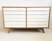 Vintage Mod Century Dresser In Wood and White
