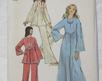 70's  Vintage Caftan and Pants Simplicity Sewing Pattern 6044 Size 10 Bust 32.5