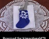RESERVED FOR KJMACDONALD Snowflake Handknit Flatware Stocking