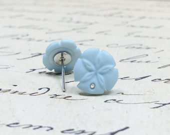 Tiny Blue Sand Dollar Earrings, Nautical Beach Wedding Jewelry, Shabby Cottage Chic Studs