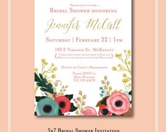 Floral Bridal Shower Invitation PDF Digital Download - choose font + colors!