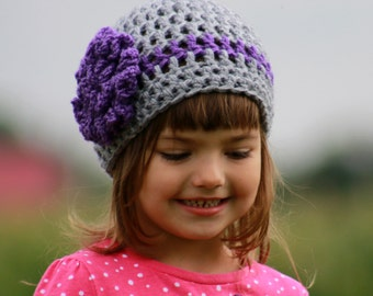 Girls Beanie Hat with Flower, Girls Hat, Crocheted Beanie for Girls, Children Beanie ,Crochet Hat, Gray and Purple