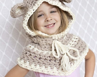 Crochet Hood, Crochet Cowl Hat, Crochet Hat, BEAR Knit HOODIE Scarf, Animal Baby Bear Hat Kids Unisex, Gift Bear Hat Handmade by Babyarns