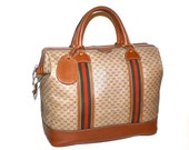 GUCCI Vintage Carry On Brown Monogram Leather Web Duffel Travel Bag  - AUTHENTIC -