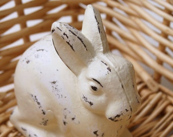 Bunny, Rabbit, Cast Iron, Distressed light Ivory, Shabby Chic, Easter Decoration, Nursery Decor, Paper Weight, Animals