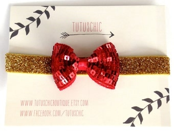 Tuxedo sequin bow tie headband in six color combinations. Red or silver bow on silver, black or gold glitter stretchy bands. Valentines Day