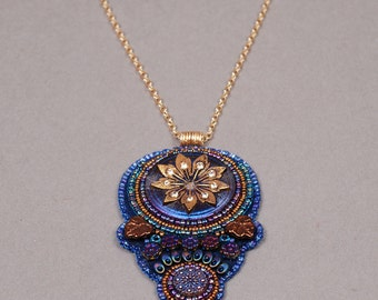 Bead Embroidered Necklace - Bead Embroidered Pendant - Bead Embroidery Necklace - Bead Embroidery Pendant - Bead Embroidery Blue and Purple