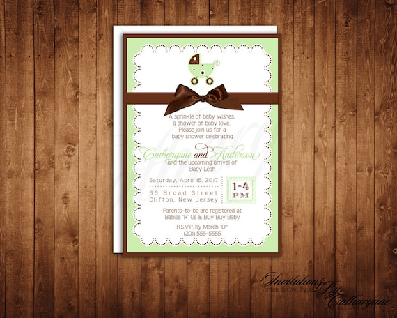 Green Baby Shower Invitations, Baby Carriage Invitations, Green and Brown Invitations, Baby Shower Invitations, Gender Neutral Invitations