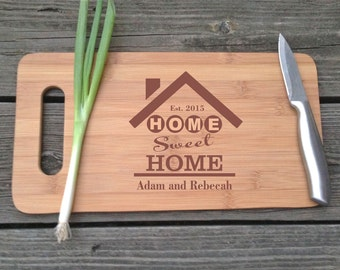 Personalized Home Sweet Home Cutting Board - Hostess Gift Engraved BAMBOO Cutting Board 14 X 7.5 Custom Wedding Gift House Warming Gift