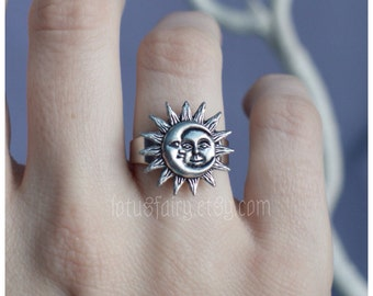 Sun and Moon ring adjustable, one size fits sizes 4-10