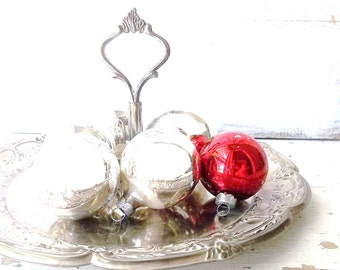Silver Embossed Dessert tray. Rustic Farmhouse Decor. Silver plated candy dish w handle