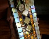 mosaic tile incense holder,Golden Girl,recycled art,incense burner,one of a kind decor.peace