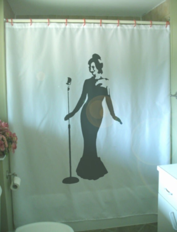 classic jazz beauty shower curtain microphone glamor golden