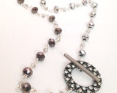 Black and Silver Necklace, Long, Crystal Toggle Hoop Clasp