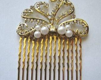 Gold hair comb | rhinestone | pearl | nautical | art nouveau