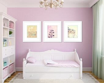 pastel nursery decor carnival picture set toddler girl room light yellow pink purple wall art three ferris wheel photograph