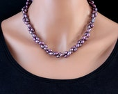 Freshwater Purple Pearl Necklace, Double Strand Necklace, Hand Knotted, OOAK, SRAJD