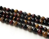 "Tiger Eye Round Beads - Mix Color TigerEye - Smooth Natural Gemstone Beads - Brown Green - Semiprecious - Jewelry Making -10mm - 7.5"" Strand"