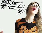Choir GiRL Custo Barcelona Vtg Top Fun Print Novelty Singing Girls Hippie Psychedelic Blue Brown Yellow Black Size Small