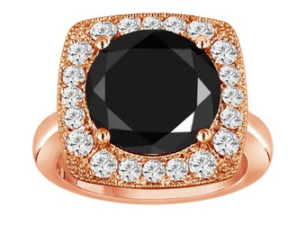 14k Rose Gold Fancy Black & White Diamond Engagement Ring Huge 6.76 Carat Unique Design Halo Ring handmade