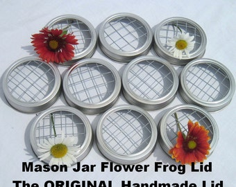 ORIGINAL Handmade Lids Mason Jar Flower Frog Lids 10 Handcrafted Flower Lids for Mason Jar Centerpieces