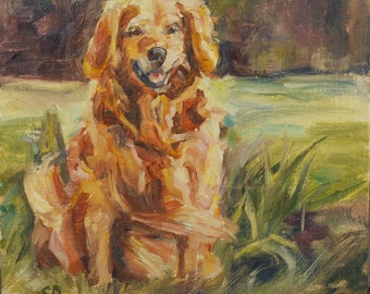 Sale, Golden Retriever, Dog Portrait, Fathers Day, Dog Lover, Pet portrait, Golden painting, Animal, 8x8 inch Original oil, Commission