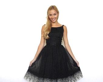 50s Black Chiffon Floral Trim Poofy Pin Up Dress xxs xs