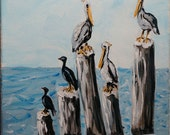 Pelicans and Comorants Original Painting Acrylic on Gallery Wrap Canvas